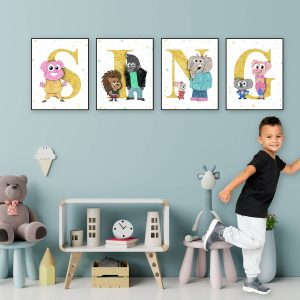 SING movie posters 4 Set - Wall Decor