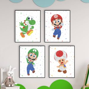 Super Mario Bros, 4 Set - Nursery Wall Decor